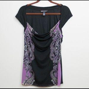 INC Drape Neck Black/Purple Shirt